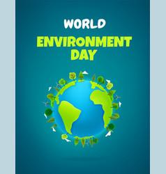 world environment day vertical banner cartoon vector image