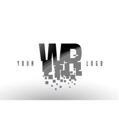 wr w r pixel letter logo with digital shattered vector image