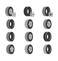 car tires wheel disk auto service icons vector image vector image