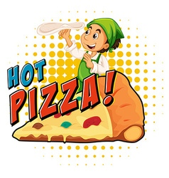 Chef making pizza dough vector image vector image