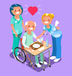 nurses group of doctors team isometric people vector image
