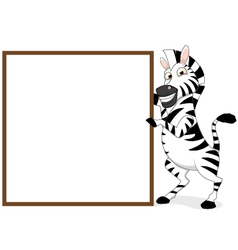 Zebra With Blank Sign vector image vector image