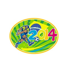 Brazil 2014 Soccer Football Player Kicking Ball vector image vector image