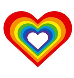 rainbow heart silhouette vector image