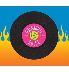 Rockabilly Rules Record Design vector image
