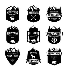 set of mountains outdoor camping emblems design vector image