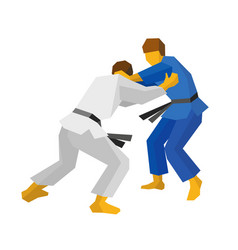 two judo fighters in blue and white colors vector image