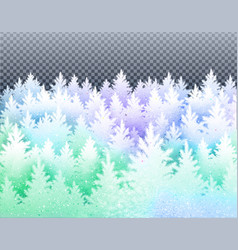 winter landscape with icy frozen spruce forest vector image