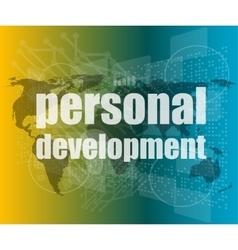 word personal development on digital screen 3d vector image vector image