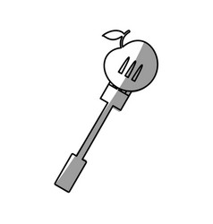 apple with fork picnic shadow vector image