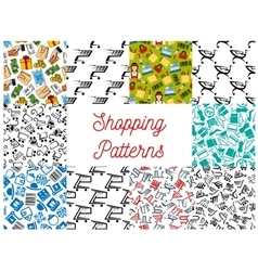 Shopping seamless patterns vector image vector image