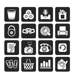 Silhouette Website and internet icons vector image