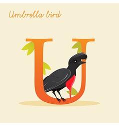 Animal alphabet with umbrella bird vector image vector image