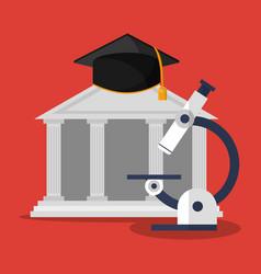 building microscope and graduation cap vector image