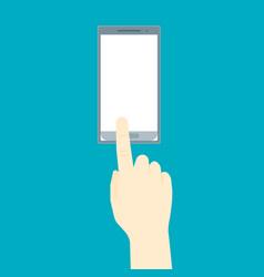 human hand using mobile smart phone vector image