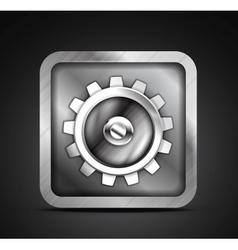 Mobile app icon - metallic gear icon design vector image
