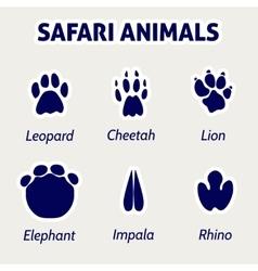Safari animals footprint stickers vector image