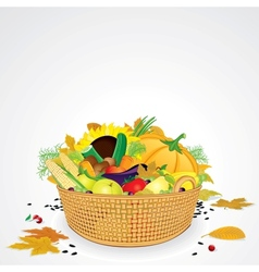 Thanksgiving Basket with Vegetables and Fruits vector image vector image