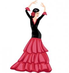 woman dancing Spanish dance vector image vector image