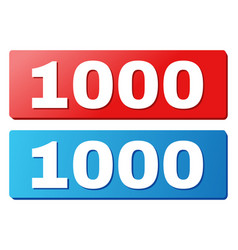 1000 title on blue and red rectangle buttons vector