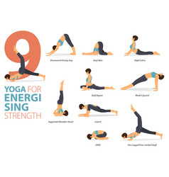 9 yoga poses for energising concept vector