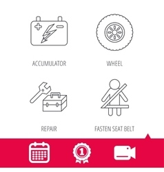Accumulator wheel and car service icons vector