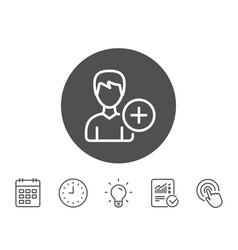add user line icon profile avatar sign vector image