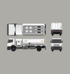 air fuel truck front side top and back view vector image