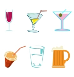 Alcohol drinks and cocktails in glasses vector