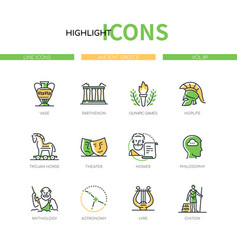Ancient greece - modern line design style icons vector