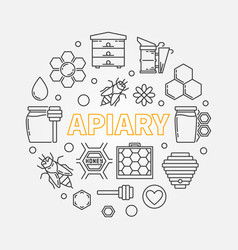 Apiary circular in outline vector