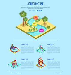 Aquapark time banner with isometric elements vector