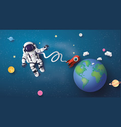 Astronaut floating in the stratosphere vector