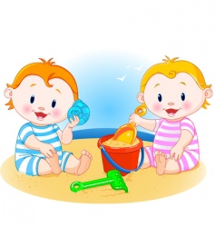 Babies at beach vector