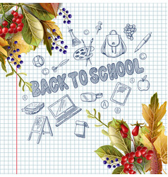 Banner with realistic leaves and school supplies vector