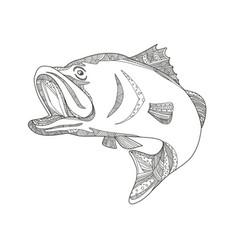 barramundi jumping doodle art vector image