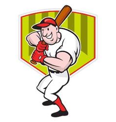 Baseball Player Batting Diamond Cartoon vector image