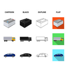 Battery and transport cartoonblackoutlineflat vector