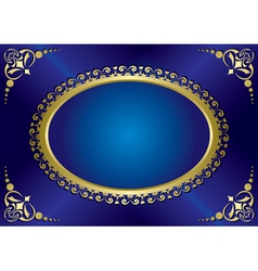 Blue elegant vintage card with gold frame vector