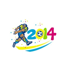 Brazil 2014 Soccer Football Player Isolated Retro vector