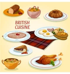 British cuisine dishes for breakfast and lunch vector image
