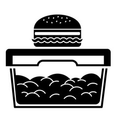 burger on lunch box icon simple style vector image