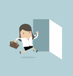 Businesswoman running to opened door vector
