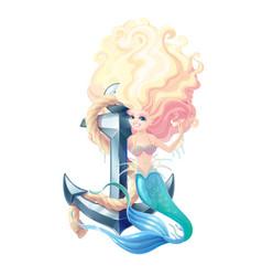 cartoon cute mermaid fairy sea vector image