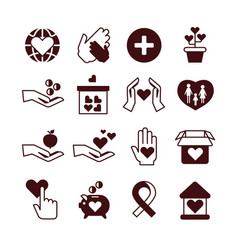 charity hands care and protection fundraising vector image