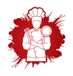 chef cook crossed arms with pan and spatula vector image