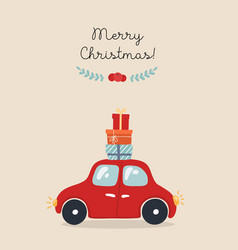 christmas card with car vector image