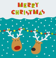 Christmas card with two deers vector