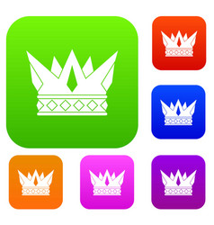 cog crown set color collection vector image
