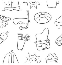 Collection of summer hand draw doodles vector